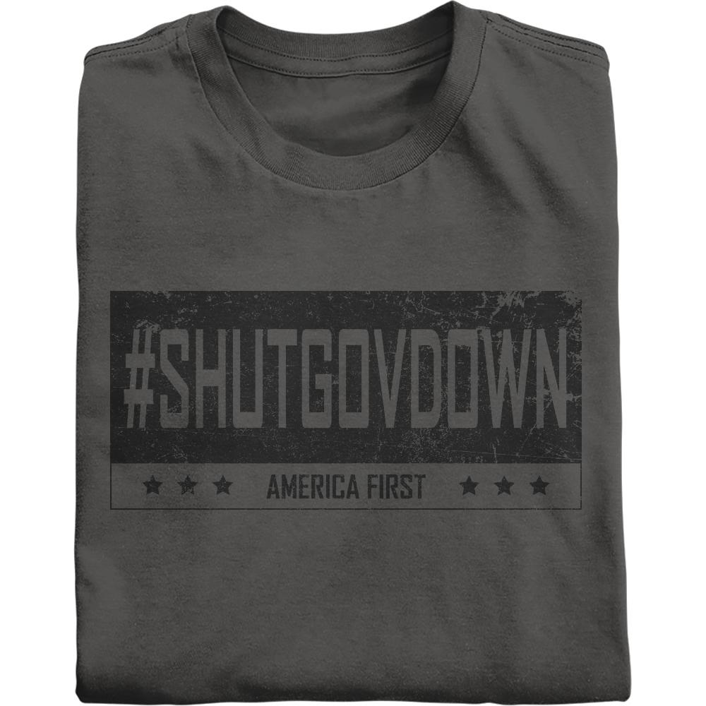 #SHUTGOVDOWN in vintage black shirt